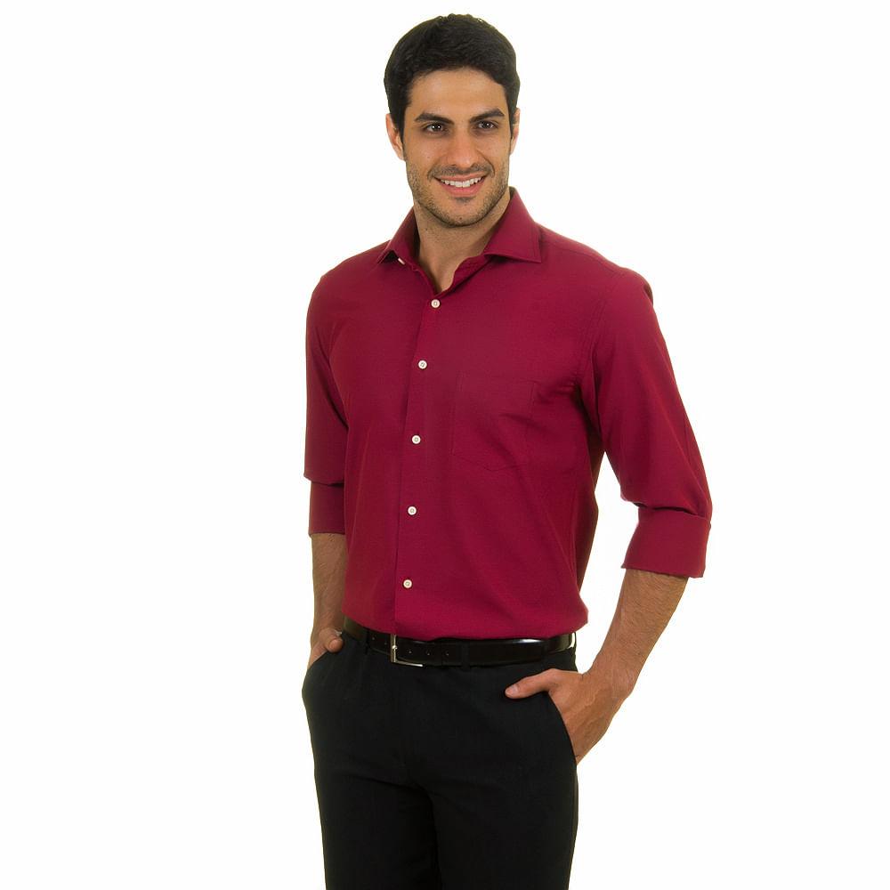 camisa social masculina vermelha lisa   camisaria colombo