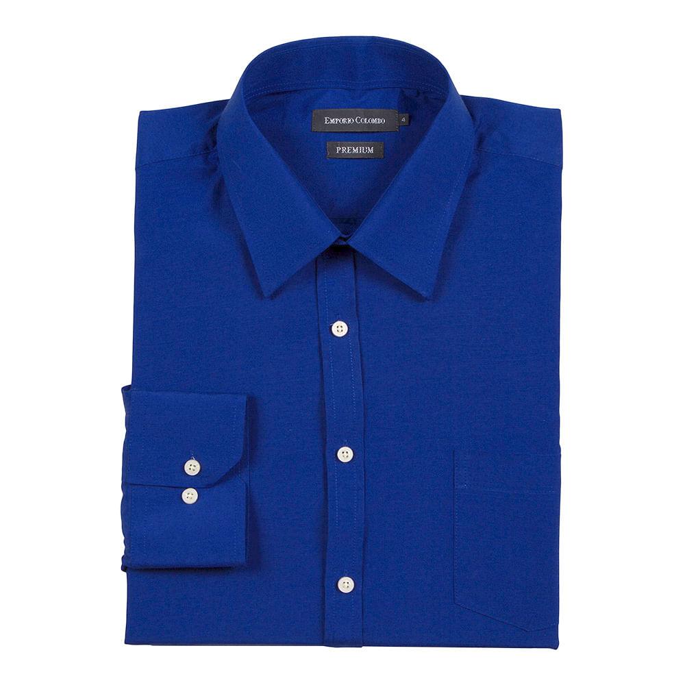 camisa social masculina azul royal lisa   camisaria colombo