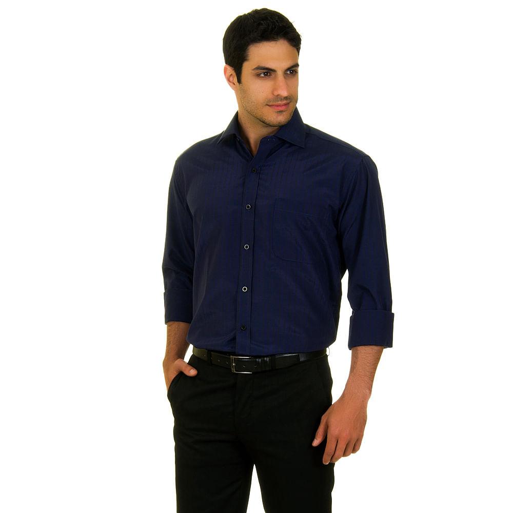 camisa social masculina azul marinho lisa   camisaria colombo