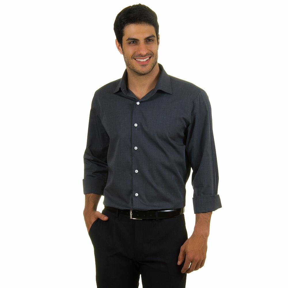 camisa social masculina grafite lisa upper   camisaria colombo
