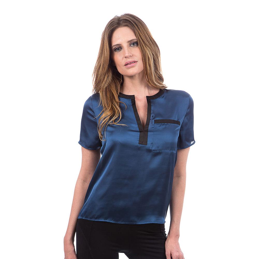 blusa feminina azul marinho lisa   camisaria colombo