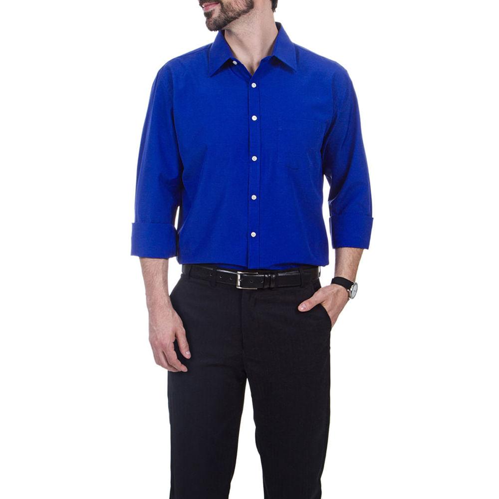 camisa social masculina azul lisa   camisaria colombo