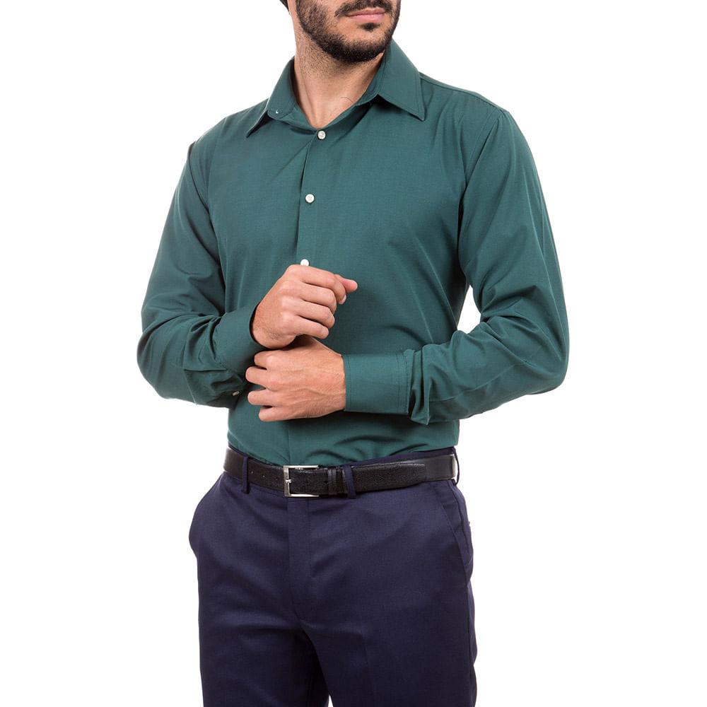 camisa social masculina verde lisa   camisaria colombo