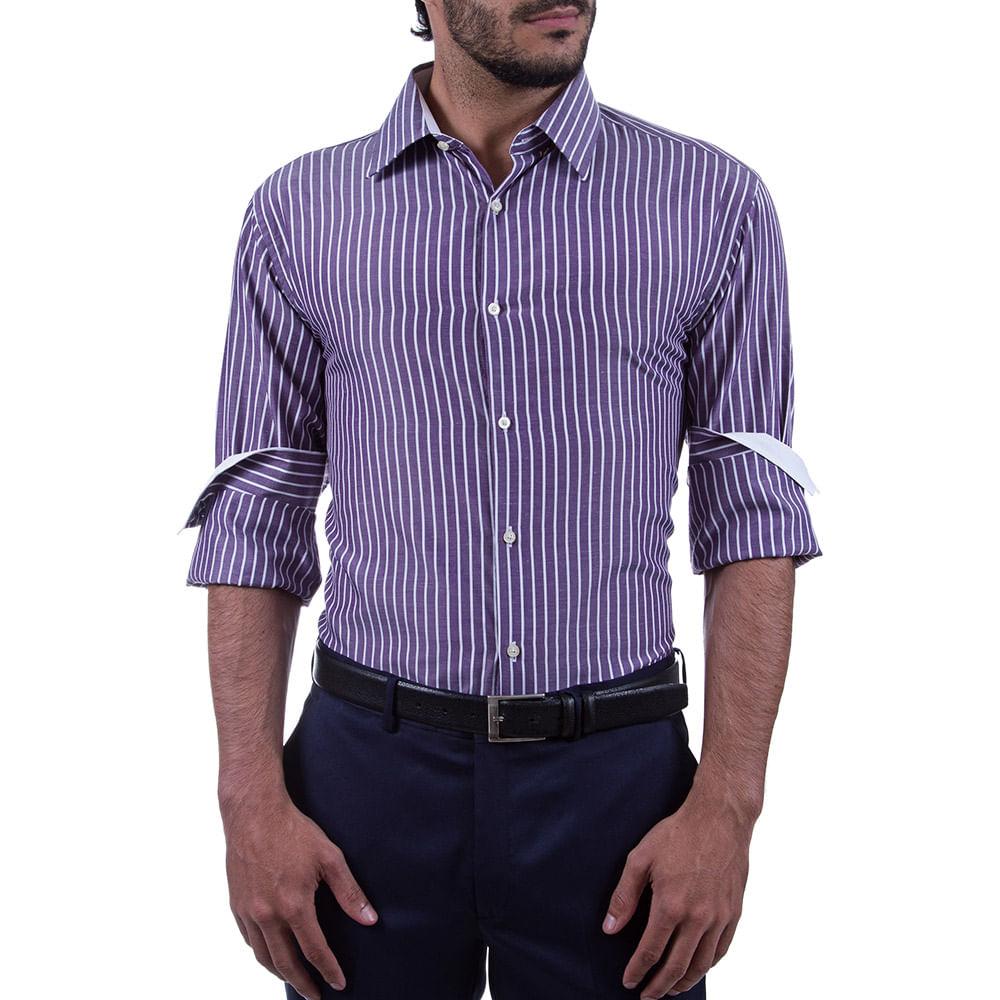 camisa social masculina roxa listrada   camisaria colombo