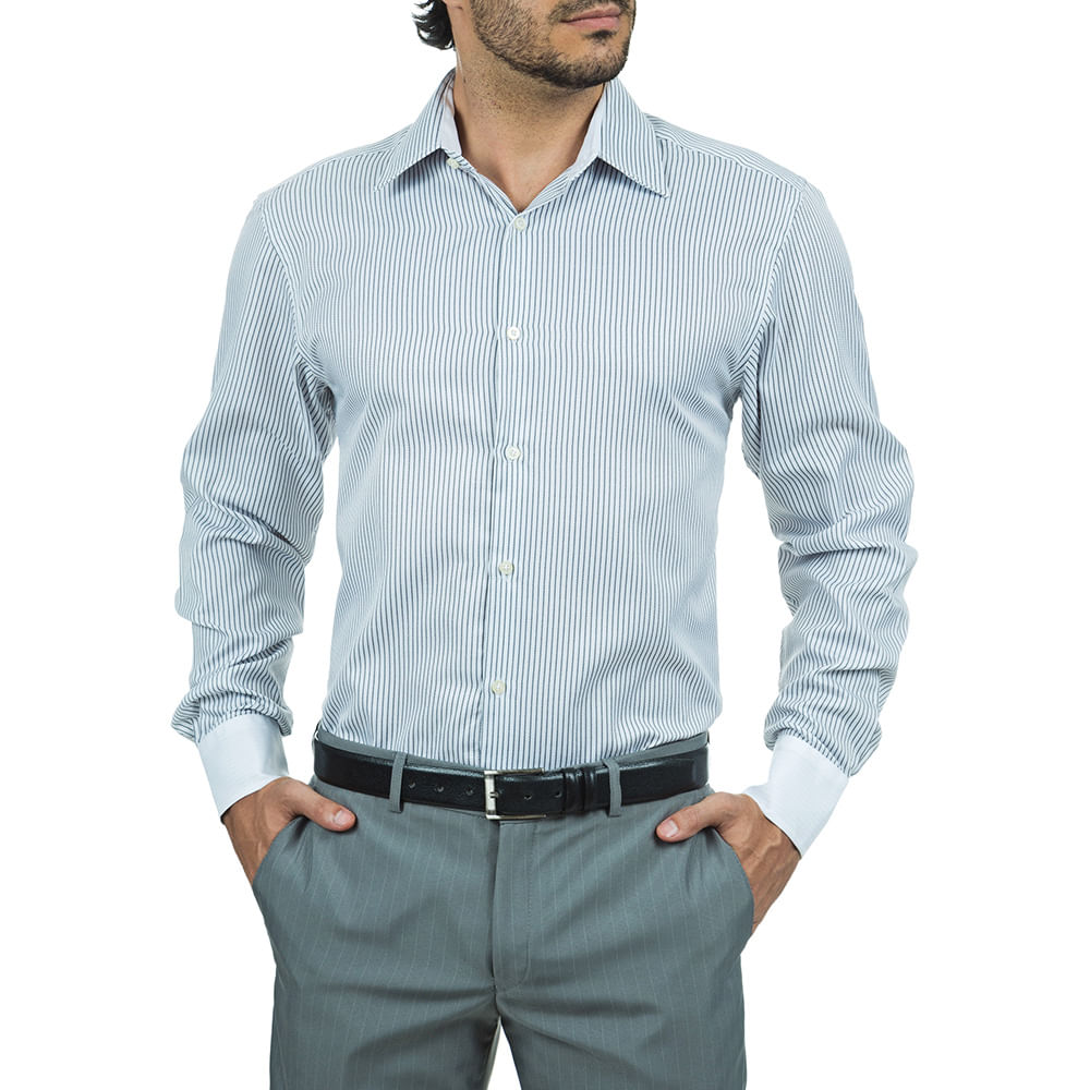 camisa social masculina cinza listrada   camisaria colombo