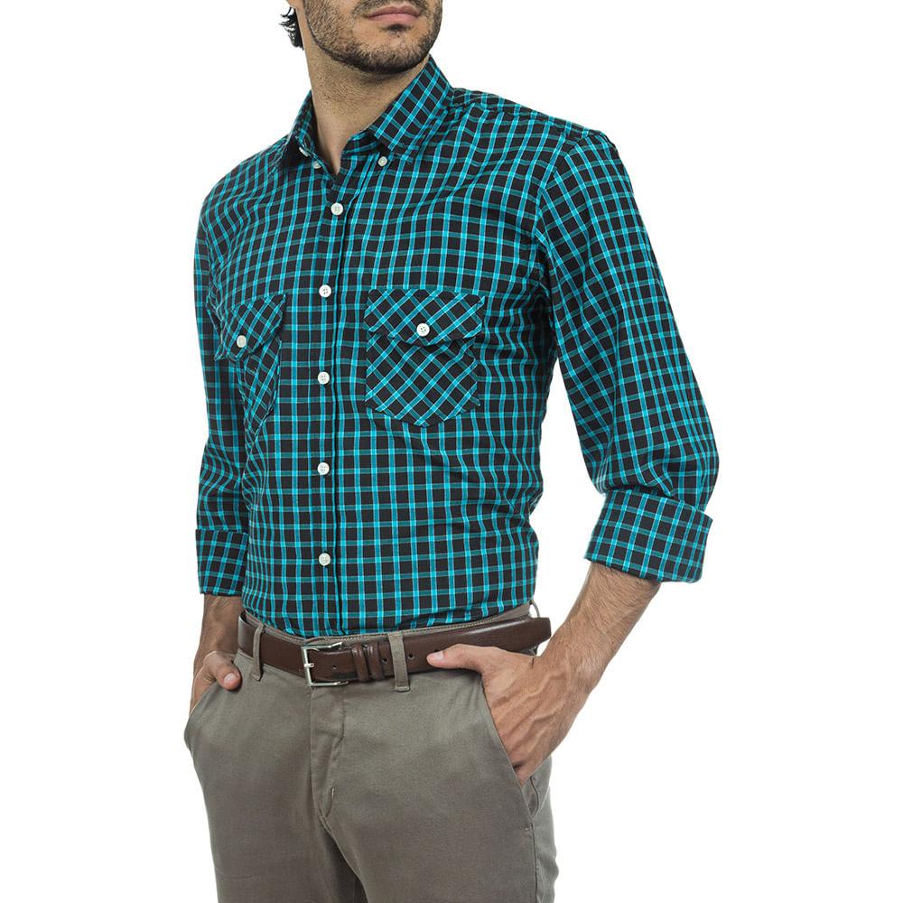 camisa masculina verde xadrez   camisaria colombo