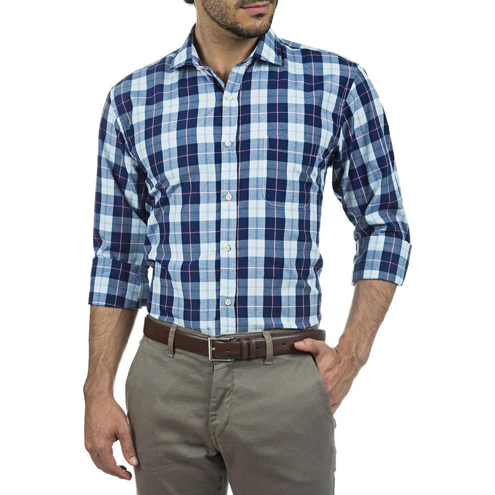 camisa masculina azul xadrez   camisaria colombo