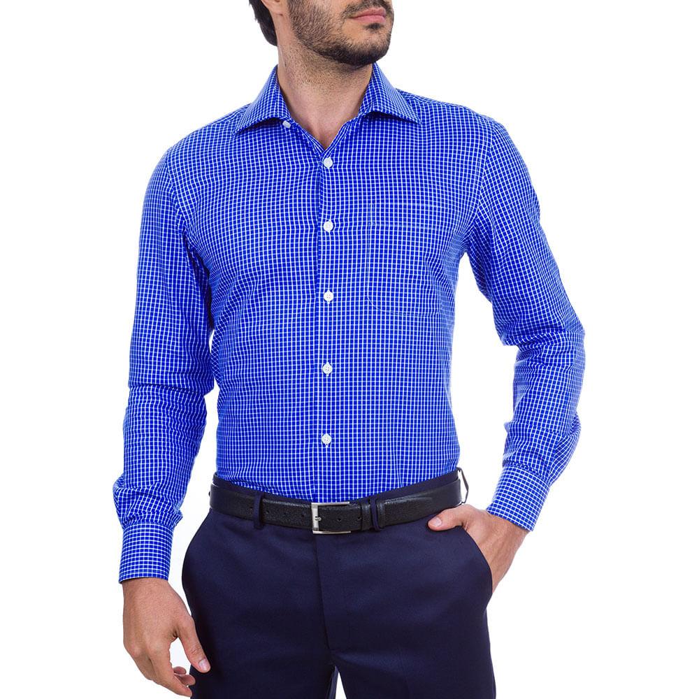 camisa social masculina azul xadrez   camisaria colombo
