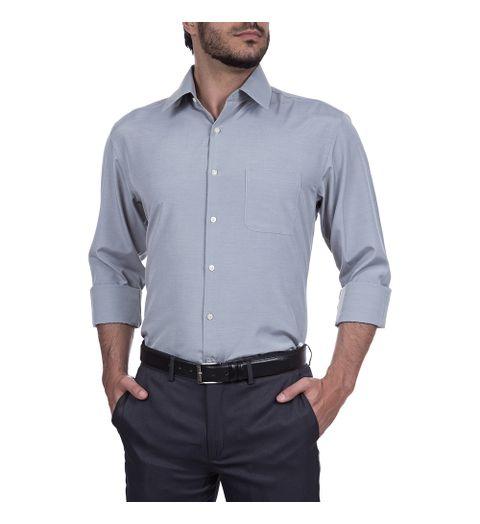 camisa social masculina cinza lisa   camisaria colombo