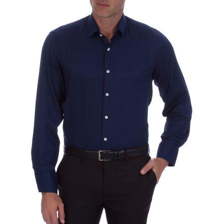 Camisa Social Masculina Azul Marinho Lisa Upper