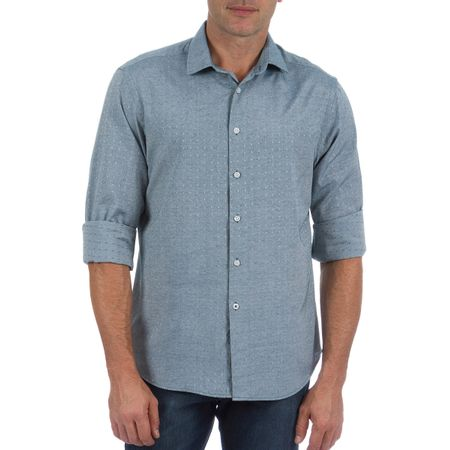 Camisa Social Masculina Azul com Detalhe