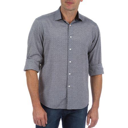 Camisa Social Masculina Cinza com Detalhe