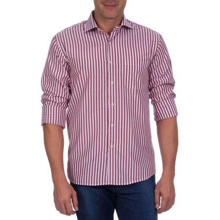 Camisa Social Masculina Vinho Listrada