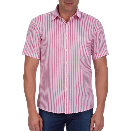 Camisa Social Masculina Rosa Listrada
