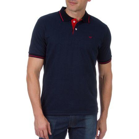 Camisa Polo Masculina Azul Marinho com Detalhe