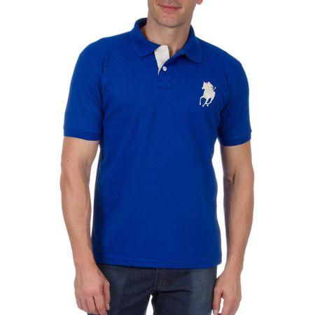Camisa Polo Masculina Azul com Bordado
