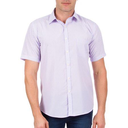 Camisa Social Masculina Lilás Listrada