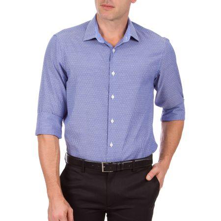 Camisa Social Masculina Azul Estampada