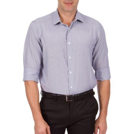 Camisa Social Masculina Azul Marinho Listrada