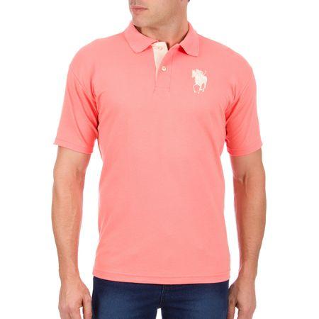 Camisa Polo Masculina Rosa com Bordado