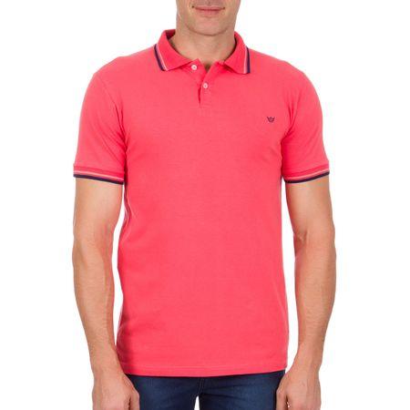 Camisa Polo Masculina Rosa com Detalhe