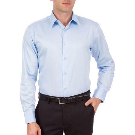 Camisa Social Masculina Azul Lisa Upper
