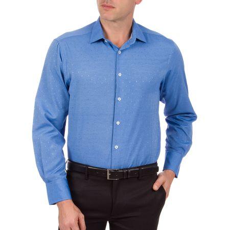 Camisa Social Masculina Azul Texturizada