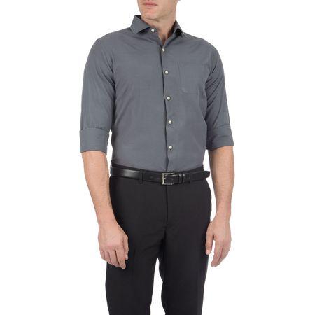 Camisa Social Masculina Cinza Chumbo Lisa