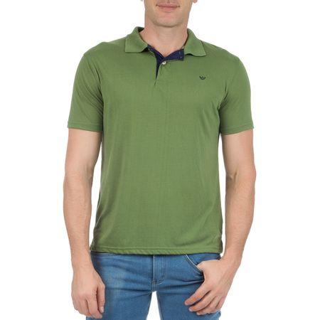 Camisa Polo Masculina Verde Lisa com Detalhe
