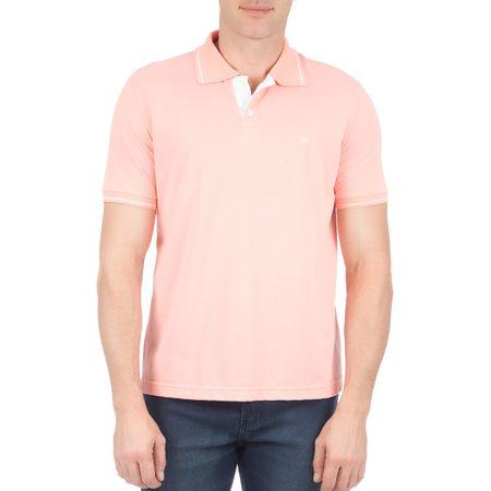 Camisa Polo Masculina Rosa Lisa com Detalhe