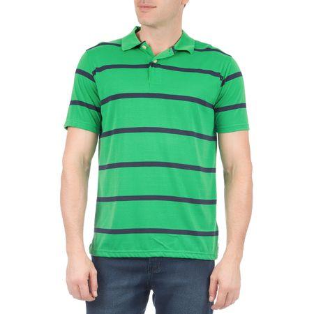Camisa Polo Masculina Verde Listrada