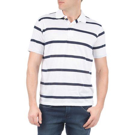 Camisa Polo Masculina Branca Listarada
