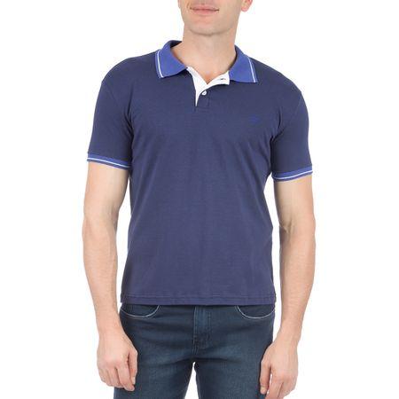 Camisa Polo Masculina Azul Lisa com Detalhe