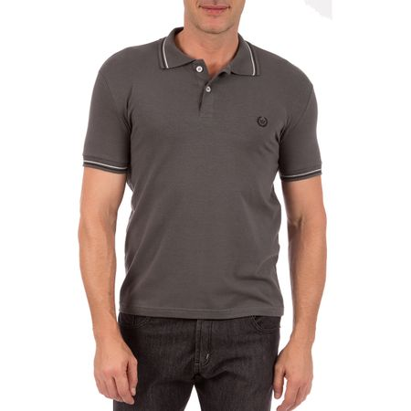 Camisa Polo Masculina Cinza Chumbo com Detalhe