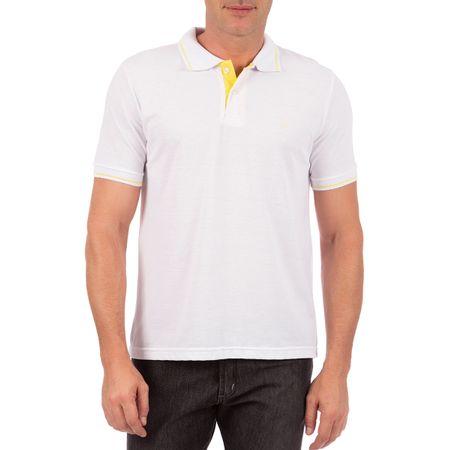 Camisa Polo Masculina Branca com Detalhe