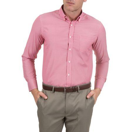 Camisa Social Masculina Vermelha Listrada - 02