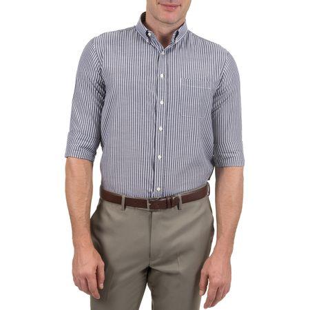 Camisa Social Masculina Cinza Chumbo Listrada