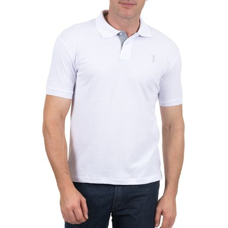 Camisa Polo Masculina Branca Lisa Bordada