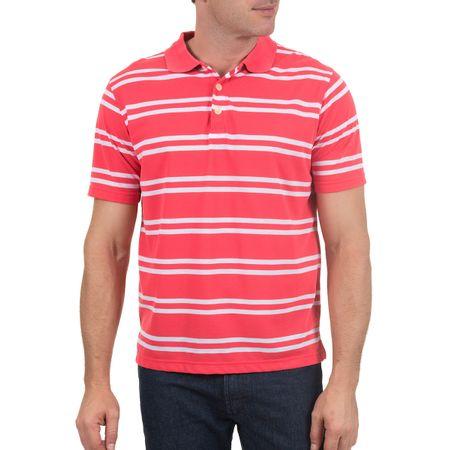 Camisa Polo Masculina Rosa Listrada