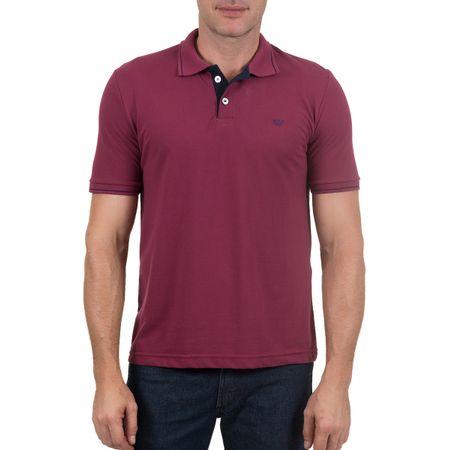 Camisa Polo Masculina Vinho com Detalhe