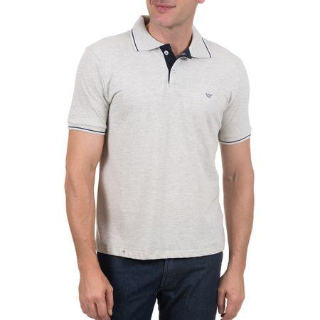 Camisa Polo Masculina Cinza com Detalhe