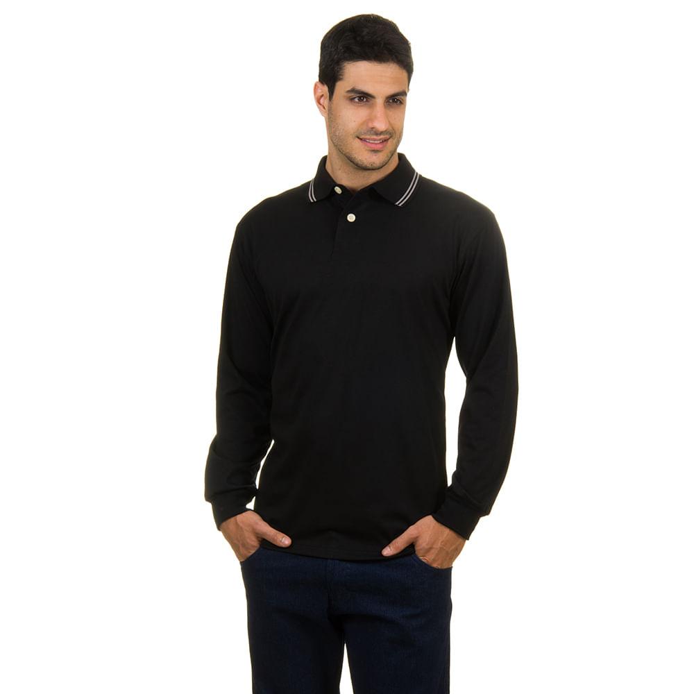 PRODUTO ADICIONADO A SACOLA. Camisa Polo Masculina Preta Lisa a4a74db23fb5b