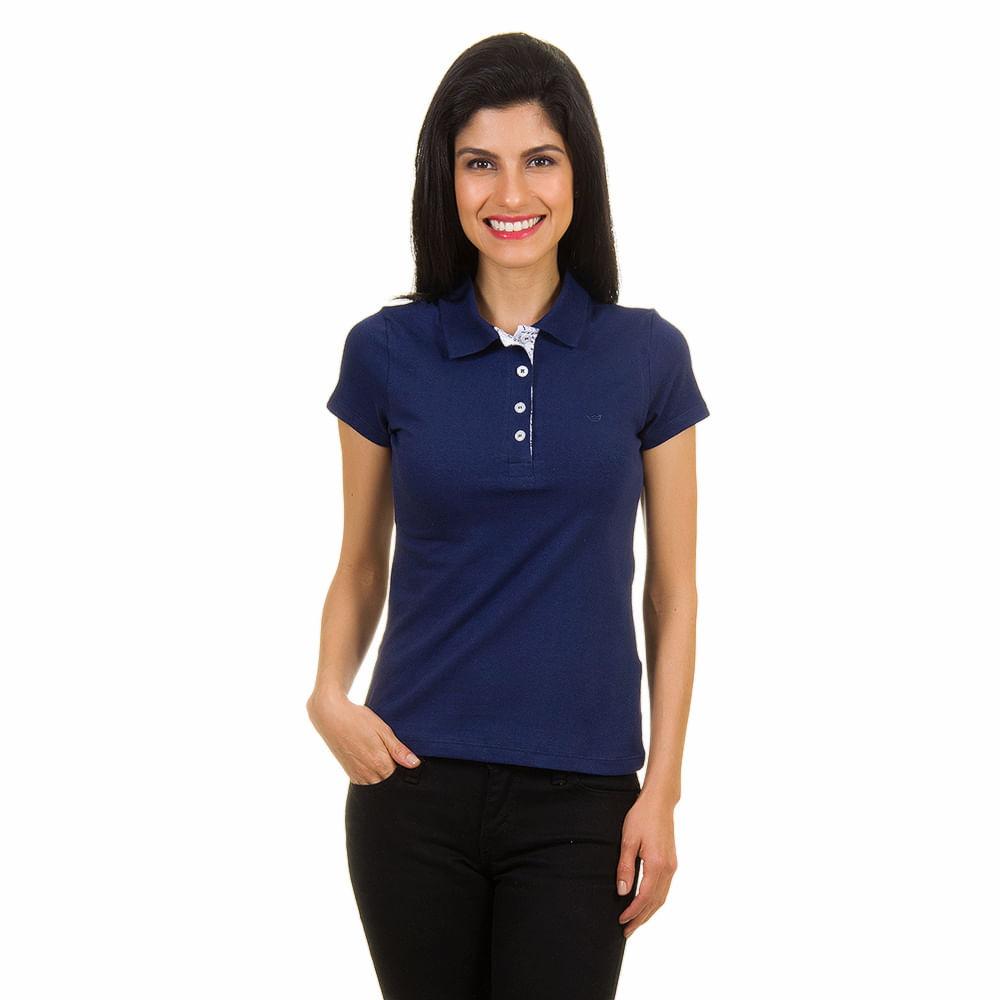 fad61e0925d96 PRODUTO ADICIONADO A SACOLA. Camisa Polo Feminina Azul Marinho ...