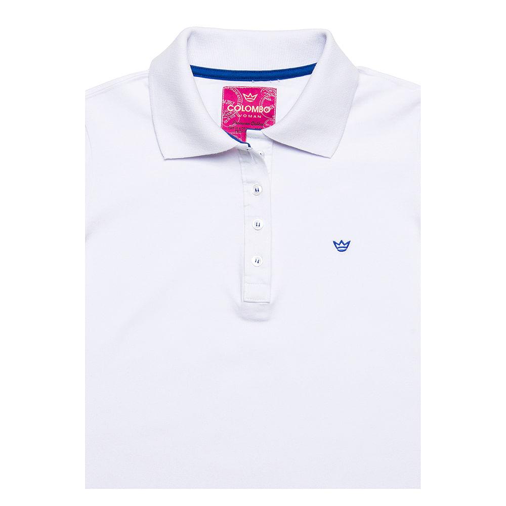 Camisa Polo Feminina Branca Lisa - Camisaria Colombo 998f9ee6491e1