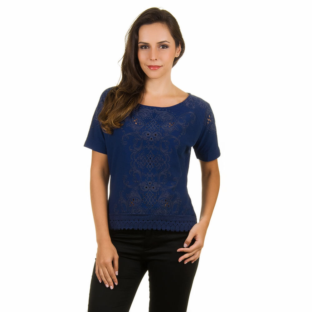 d25131fd69 Blusa Feminina Azul Marinho com Detalhe Vazado - Camisaria Colombo