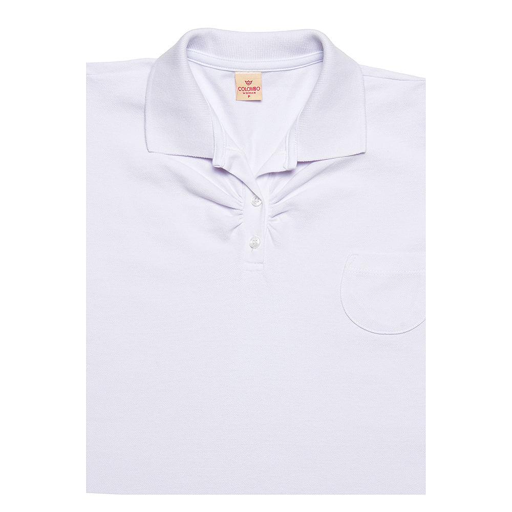 1040726c93 Camisa Polo Feminina Branca com Bolso - Camisaria Colombo