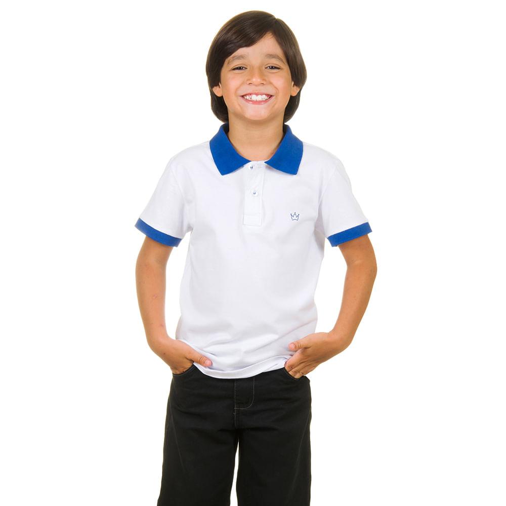 22a2ba1628 Camisa Polo Infantil Branca com Detalhe Azul - Camisaria Colombo