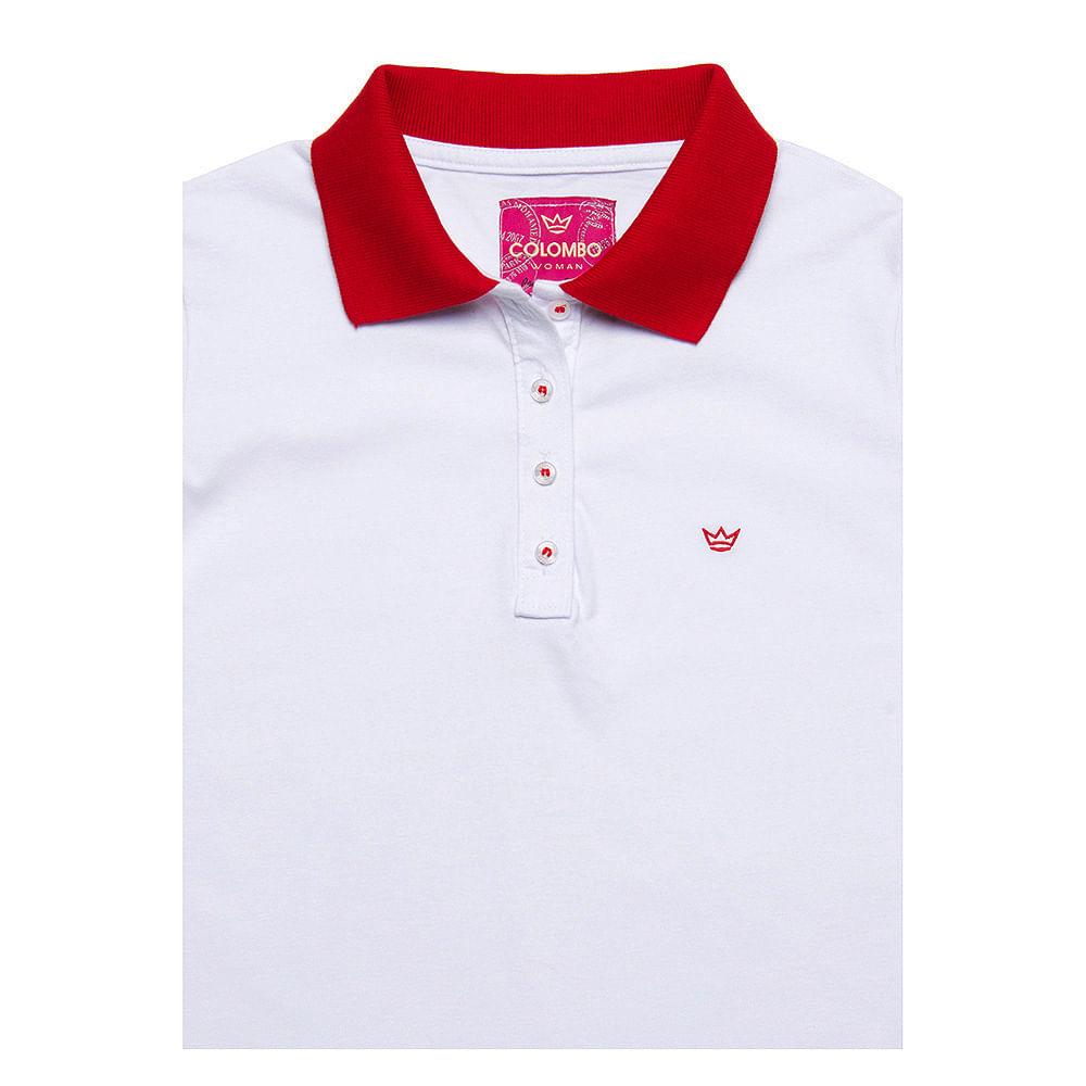 Camisa Polo Feminina Branco com Detalhe Vermelho - Camisaria Colombo c2c267243f28b