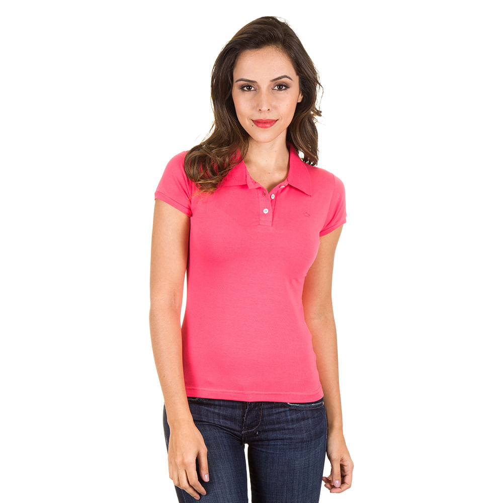 b60b33118c PRODUTO ADICIONADO A SACOLA. Camisa Polo Feminina Rosa Lisa