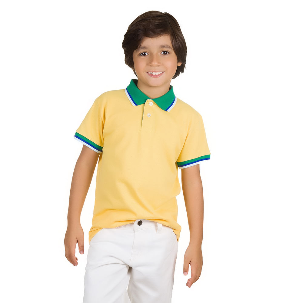 PRODUTO ADICIONADO A SACOLA. Camisa Polo Infantil Amarela com Detalhe Verde 1b3bf16b4480c